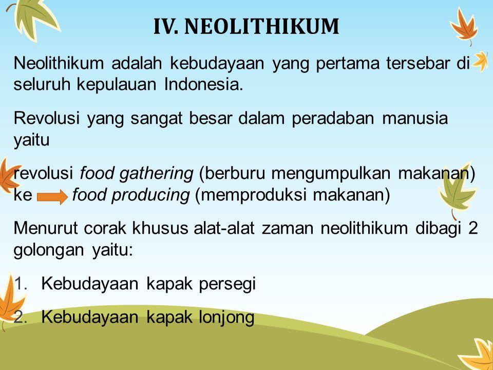 IV. NEOLITHIKUM Neolithikum adalah kebudayaan yang pertama tersebar di seluruh kepulauan Indonesia.