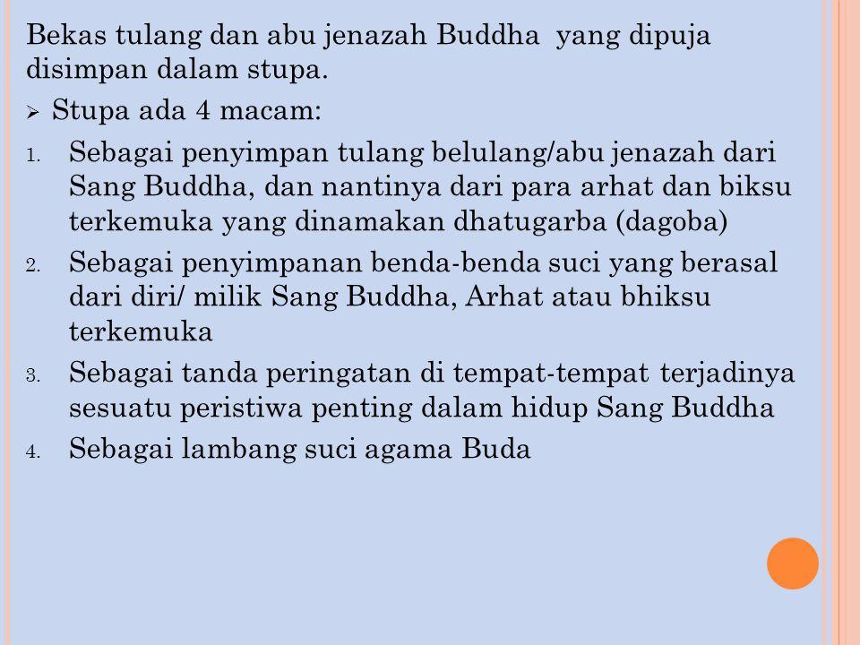 Bekas tulang dan abu jenazah Buddha yang dipuja disimpan dalam stupa.