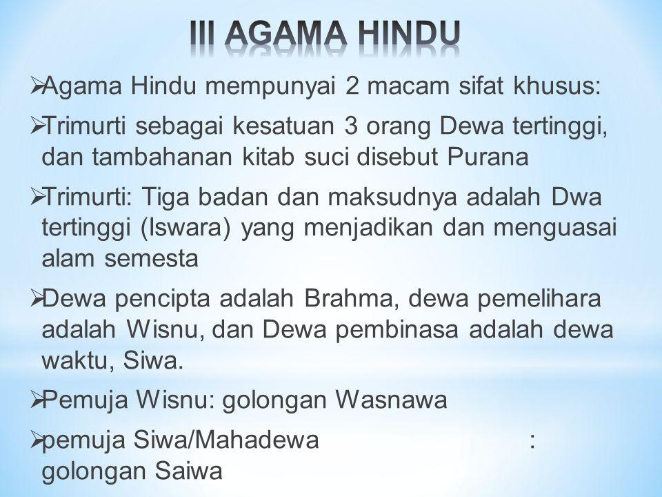 III AGAMA HINDU Agama Hindu mempunyai 2 macam sifat khusus:
