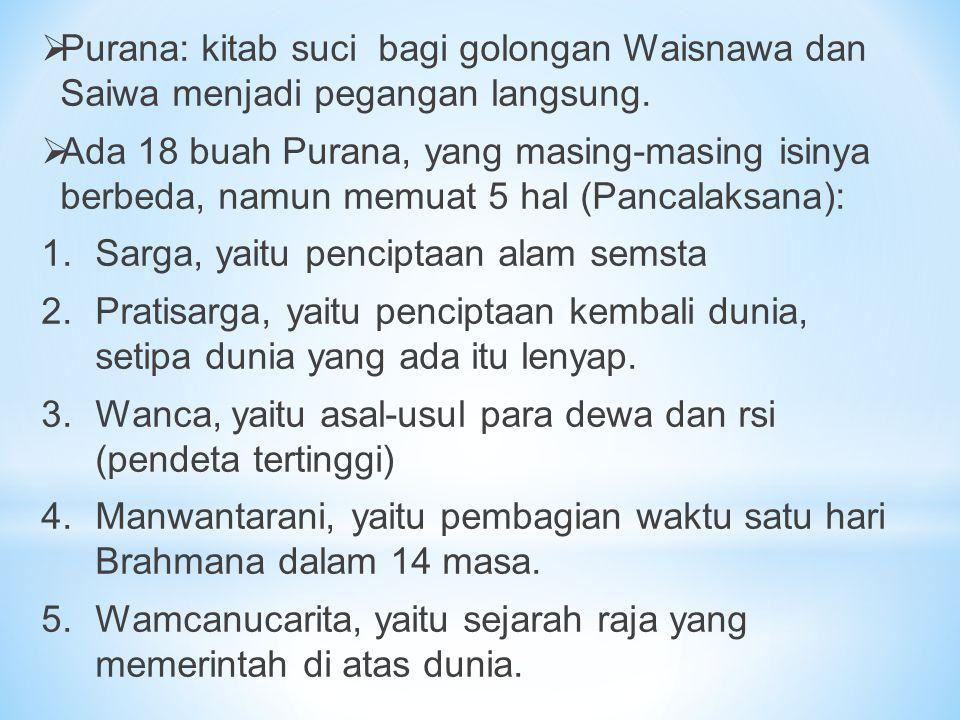Purana: kitab suci bagi golongan Waisnawa dan Saiwa menjadi pegangan langsung.
