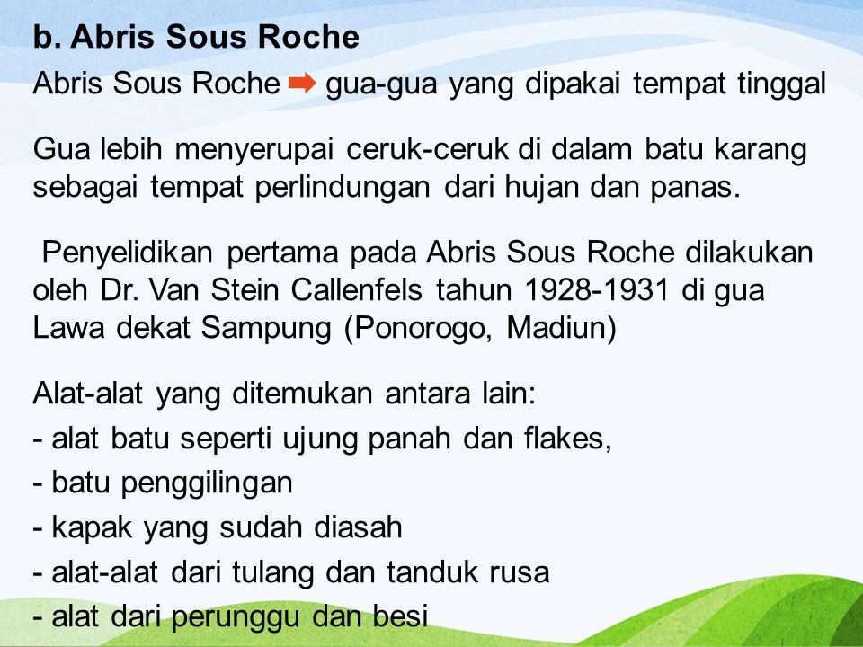 b. Abris Sous Roche Abris Sous Roche gua-gua yang dipakai tempat tinggal.