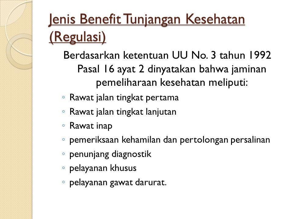 Jenis Benefit Tunjangan Kesehatan (Regulasi)