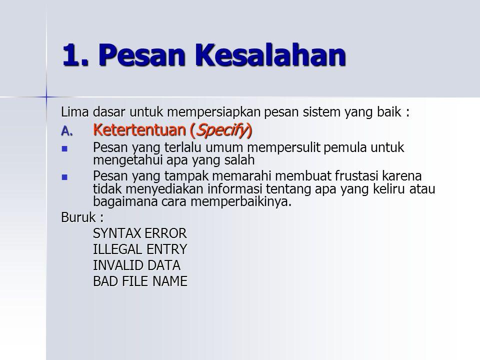 1. Pesan Kesalahan Ketertentuan (Specify)