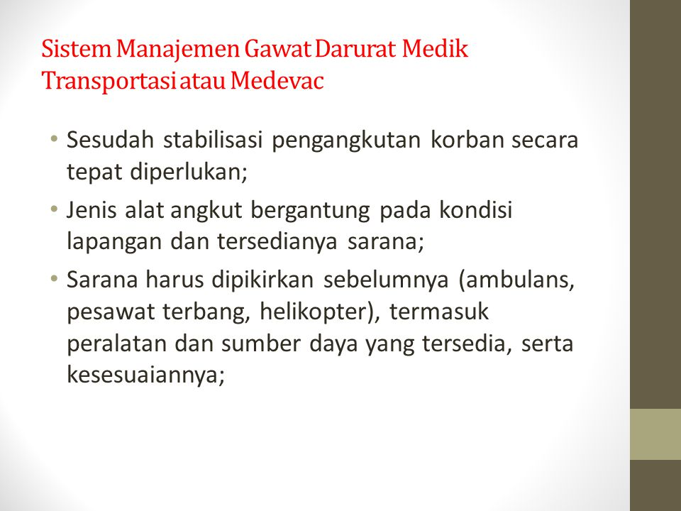 Sistem Manajemen Gawat Darurat Medik Transportasi atau Medevac