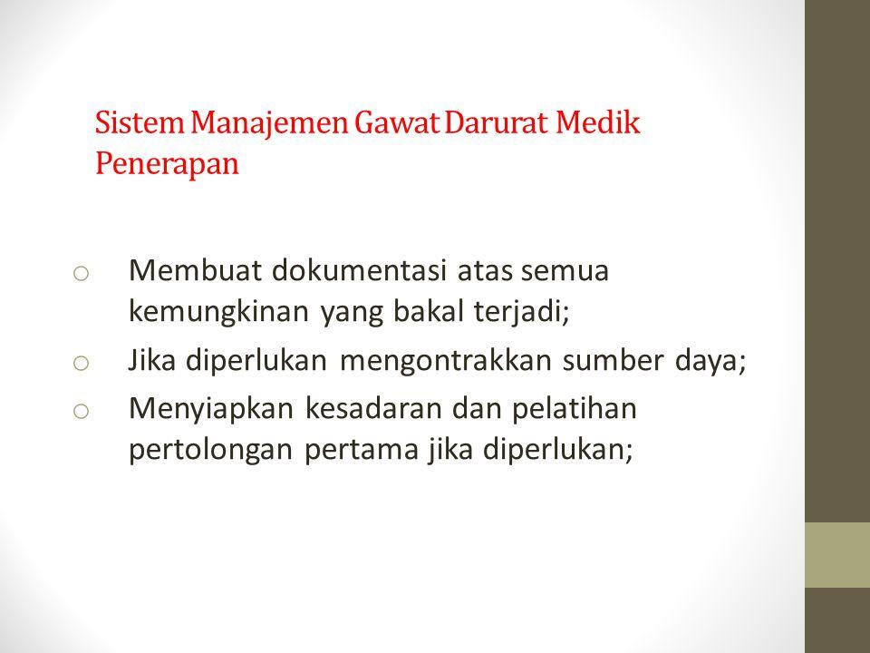 Sistem Manajemen Gawat Darurat Medik Penerapan