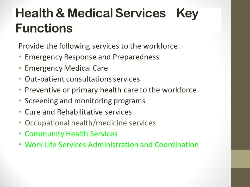 Health & Medical Services Key Functions