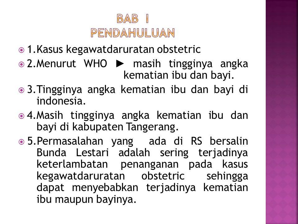 BAB I PENDAHULUAN 1.Kasus kegawatdaruratan obstetric