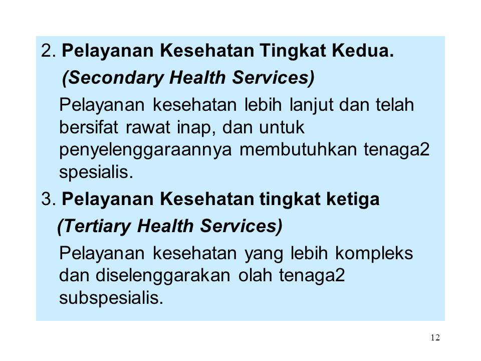 2. Pelayanan Kesehatan Tingkat Kedua.