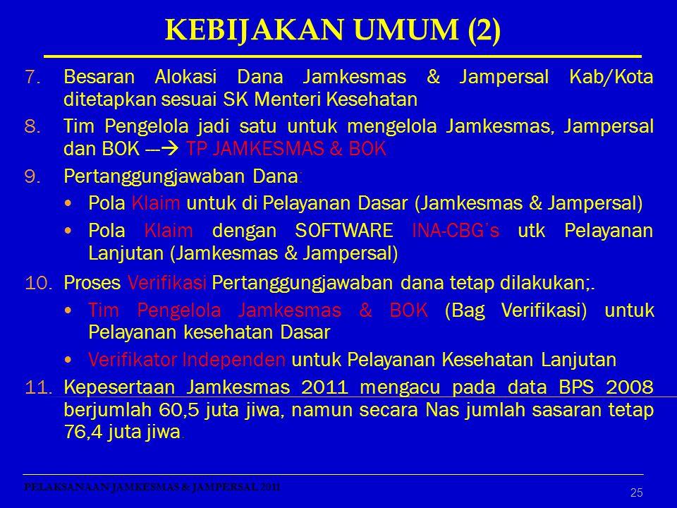 KEBIJAKAN UMUM (2) Besaran Alokasi Dana Jamkesmas & Jampersal Kab/Kota ditetapkan sesuai SK Menteri Kesehatan.