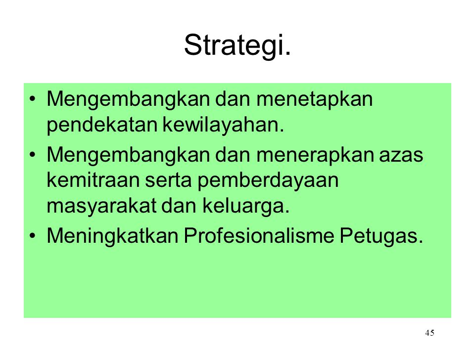 Strategi. Mengembangkan dan menetapkan pendekatan kewilayahan.
