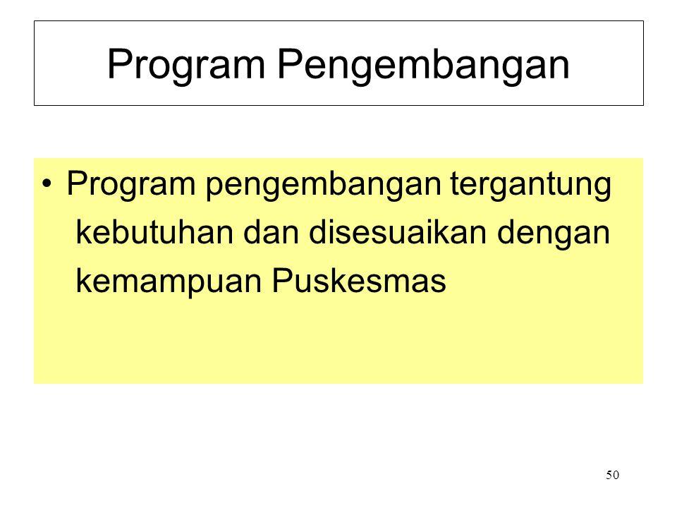 Program Pengembangan Program pengembangan tergantung