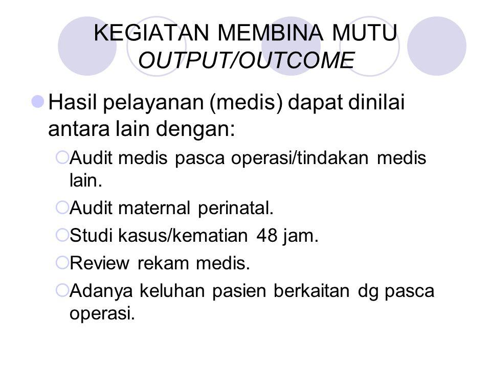KEGIATAN MEMBINA MUTU OUTPUT/OUTCOME