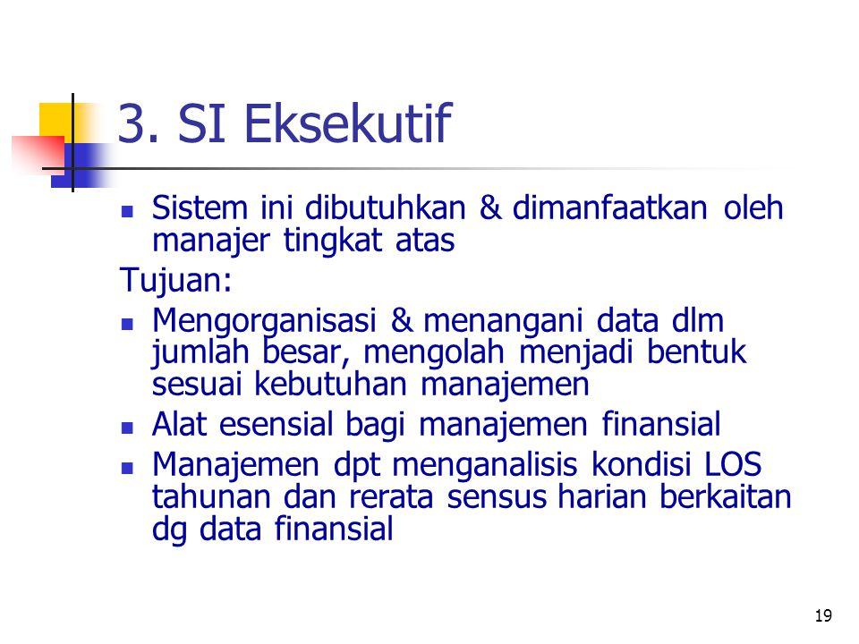 3. SI Eksekutif Sistem ini dibutuhkan & dimanfaatkan oleh manajer tingkat atas. Tujuan: