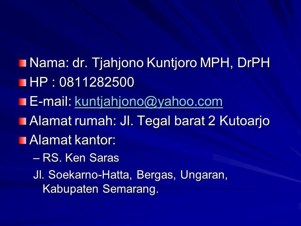 Nama: dr. Tjahjono Kuntjoro MPH, DrPH HP : 0811282500