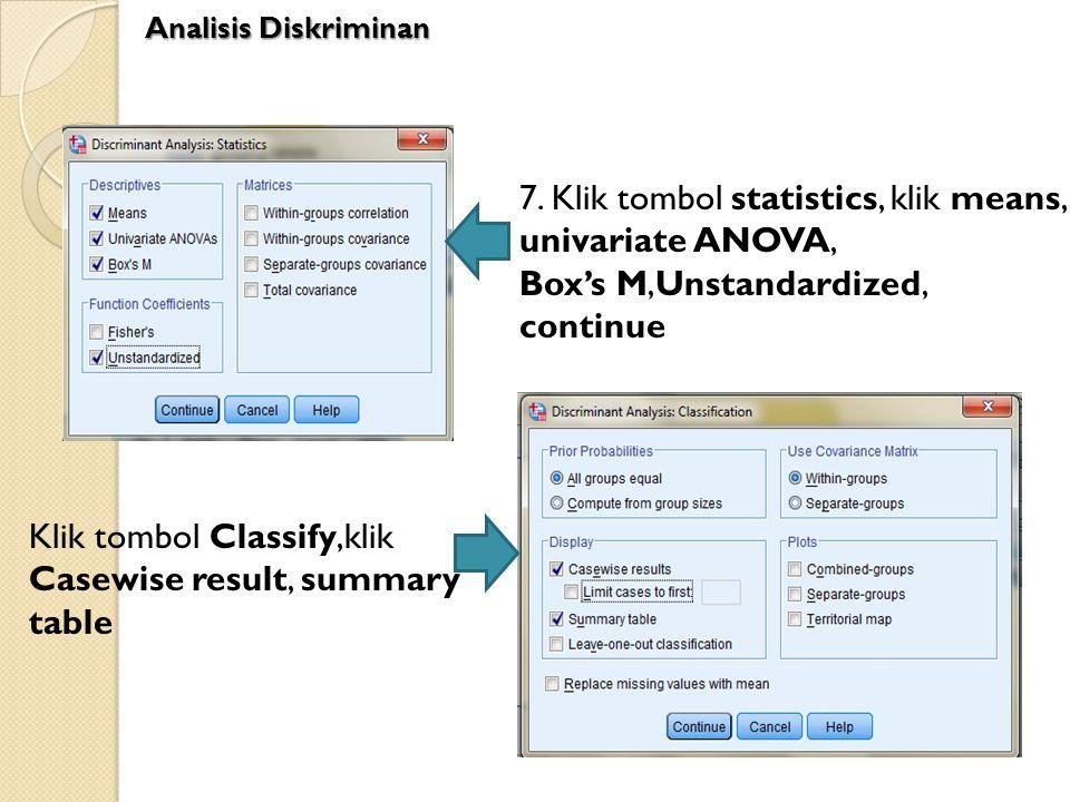 7. Klik tombol statistics, klik means, univariate ANOVA,