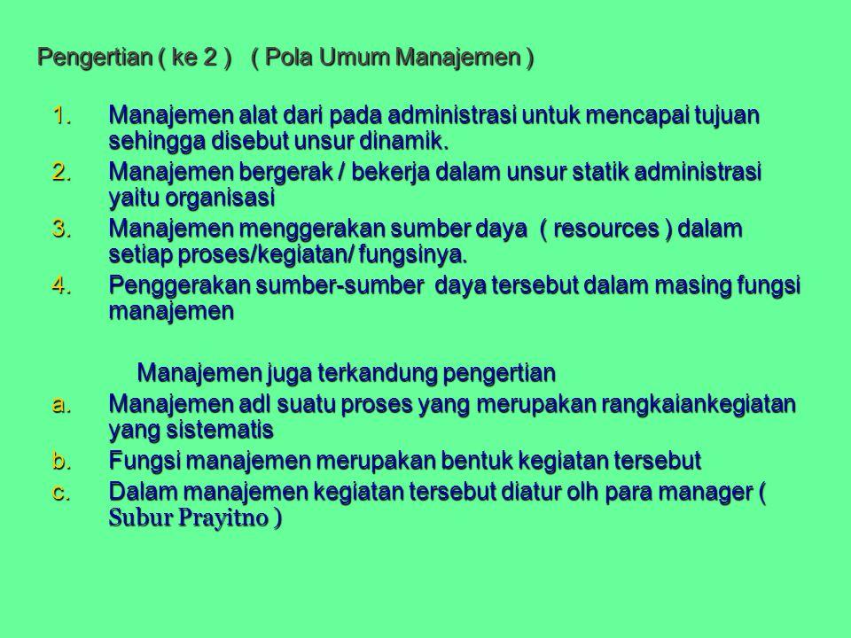 Pengertian ( ke 2 ) ( Pola Umum Manajemen )