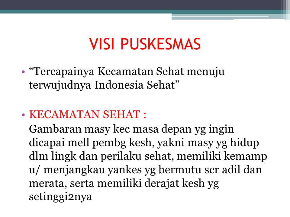 VISI PUSKESMAS Tercapainya Kecamatan Sehat menuju terwujudnya Indonesia Sehat KECAMATAN SEHAT :