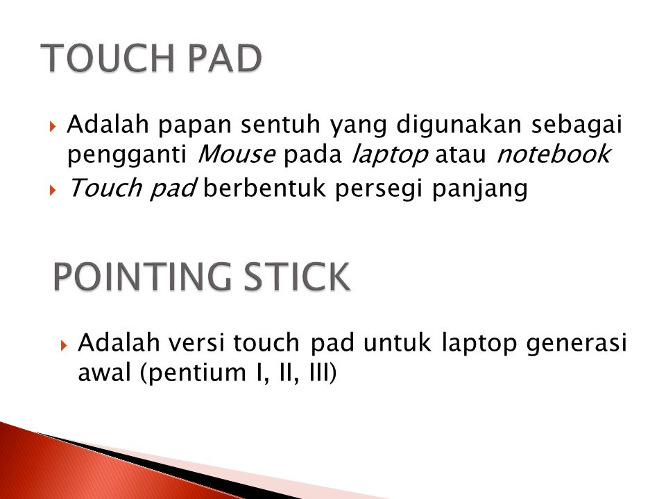 TOUCH PAD POINTING STICK