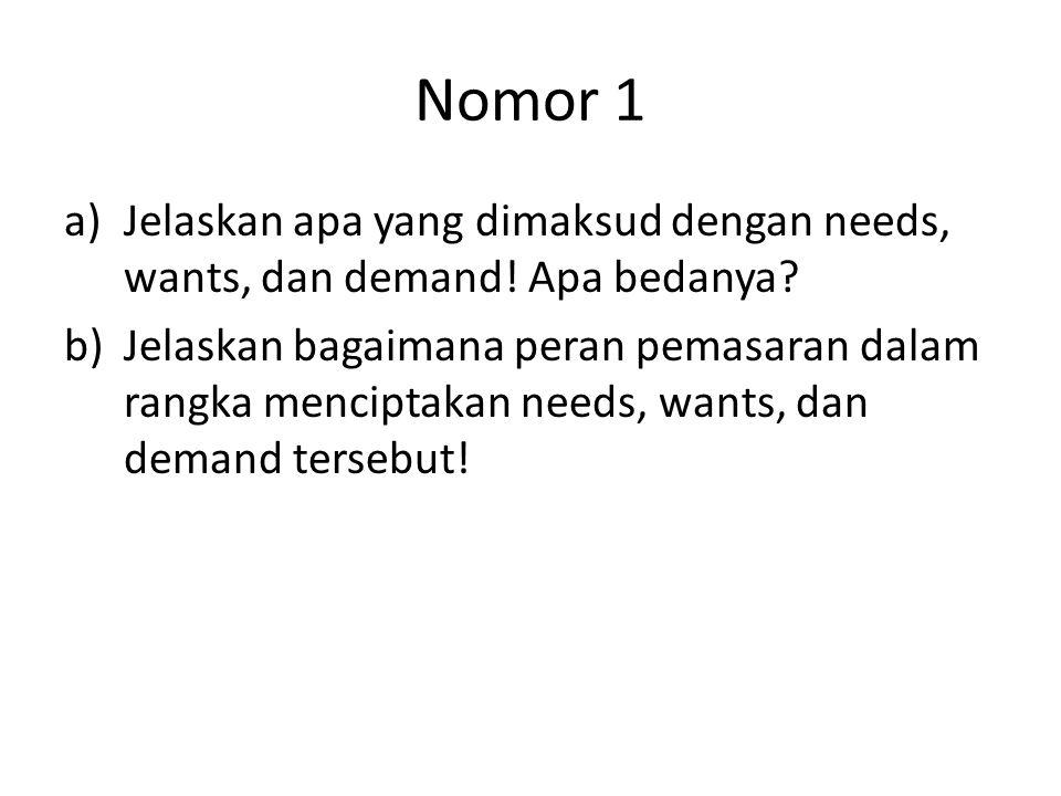 Nomor 1 Jelaskan apa yang dimaksud dengan needs, wants, dan demand! Apa bedanya