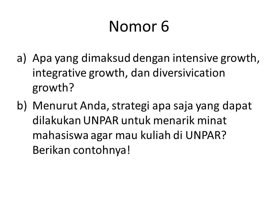 Nomor 6 Apa yang dimaksud dengan intensive growth, integrative growth, dan diversivication growth