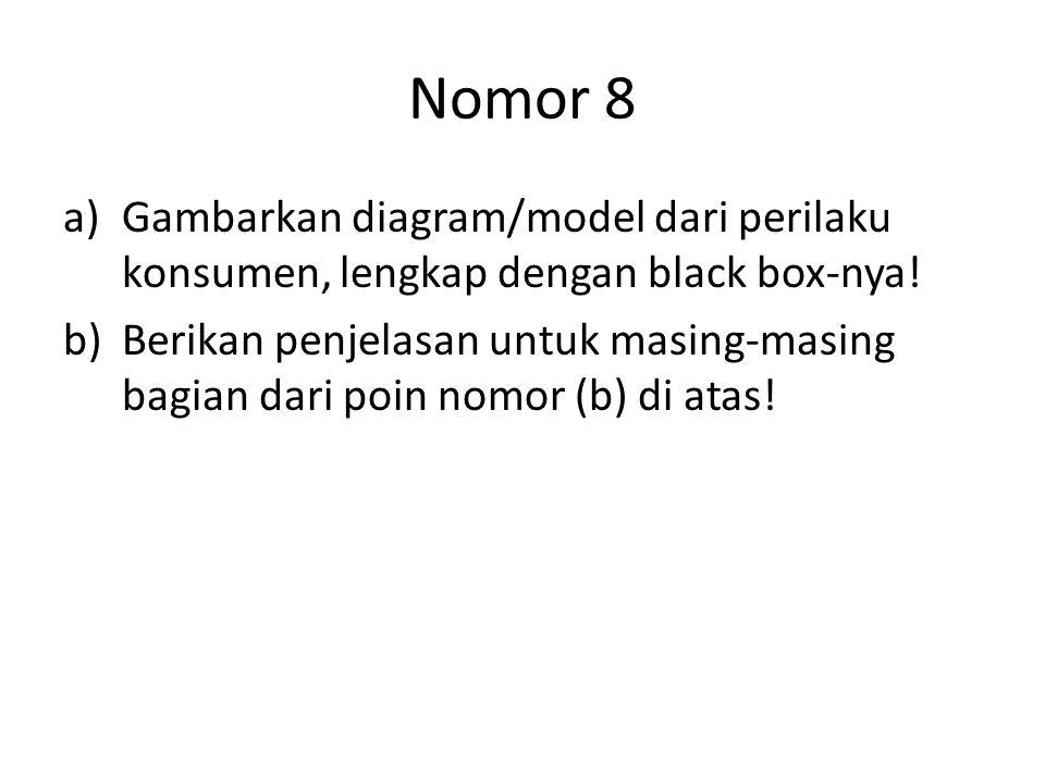 Nomor 8 Gambarkan diagram/model dari perilaku konsumen, lengkap dengan black box-nya!
