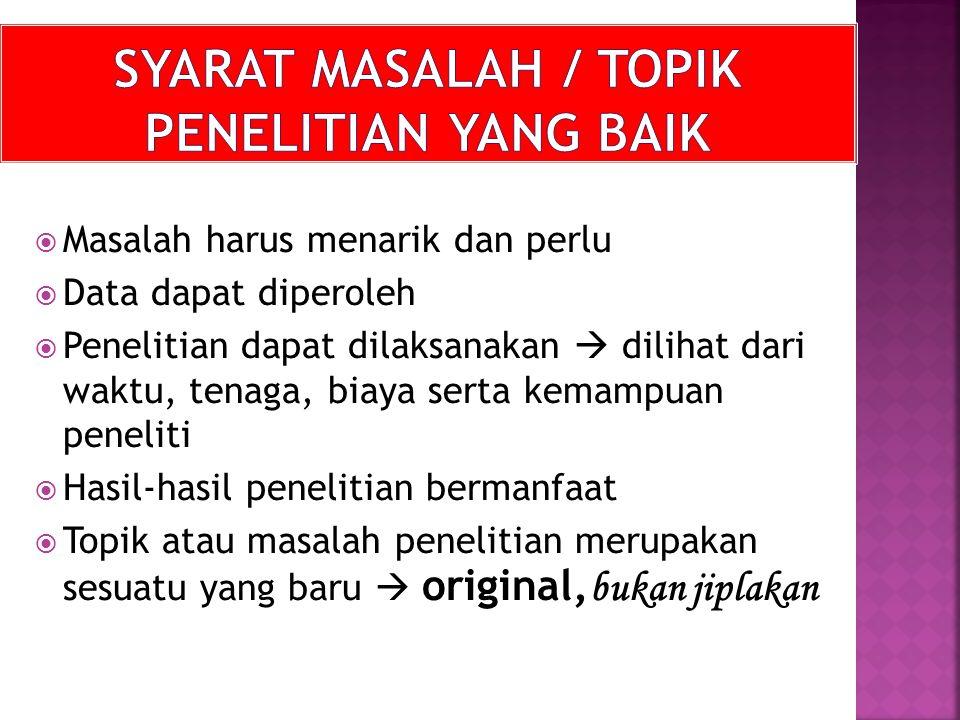 SYARAT MASALAH / TOPIK PENELITIAN YANG BAIK