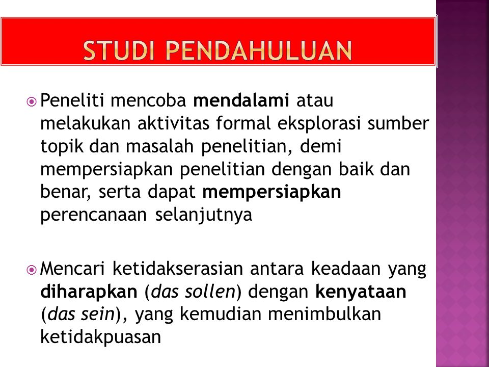 STUDI PENDAHULUAN
