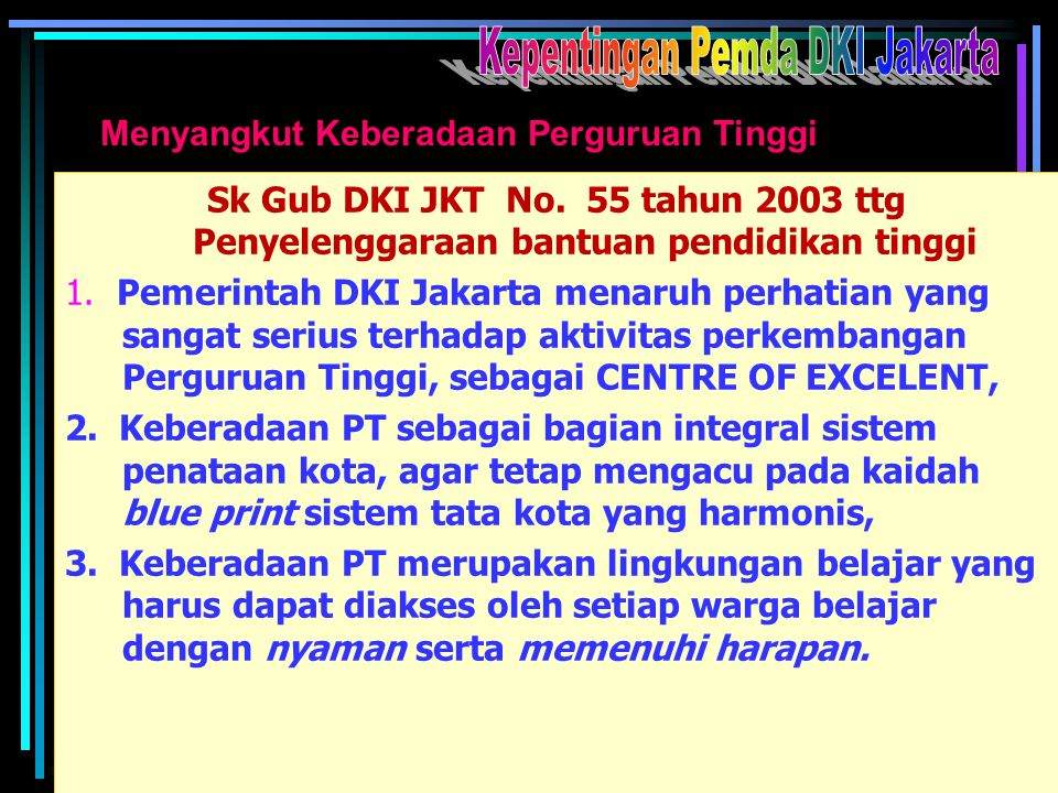 Kepentingan Pemda DKI Jakarta