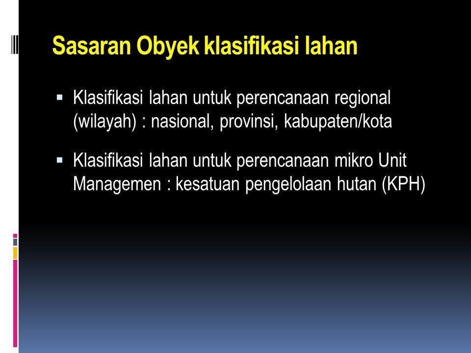 Sasaran Obyek klasifikasi lahan