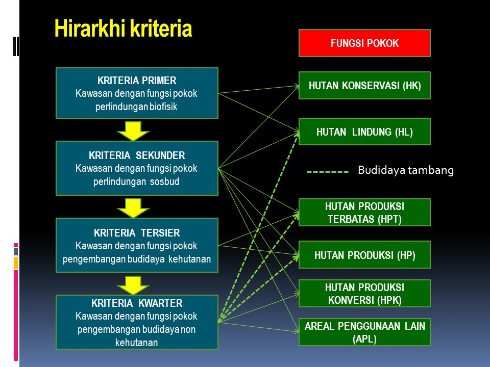 Hirarkhi kriteria Budidaya tambang FUNGSI POKOK KRITERIA PRIMER