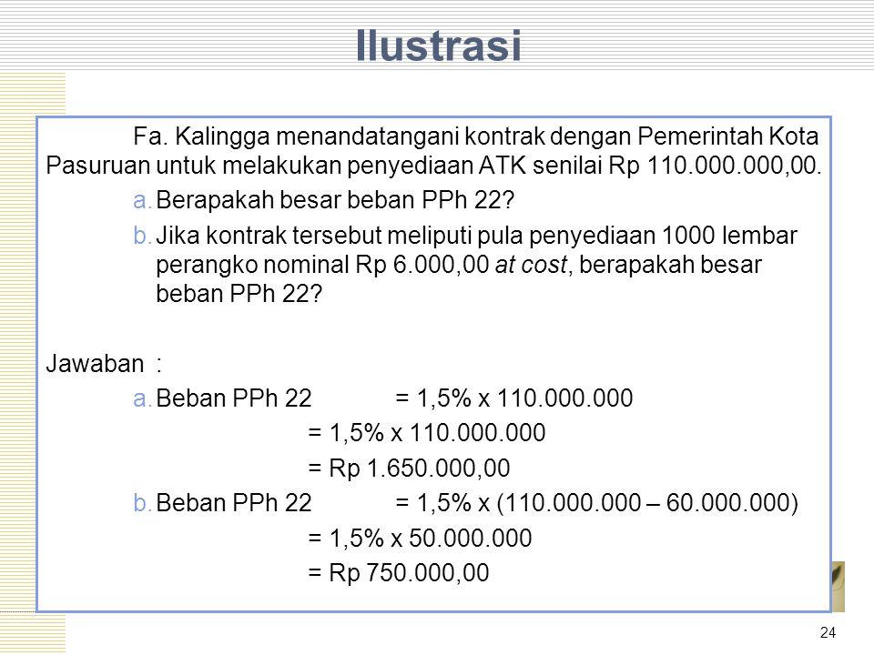 Ilustrasi Fa. Kalingga menandatangani kontrak dengan Pemerintah Kota Pasuruan untuk melakukan penyediaan ATK senilai Rp 110.000.000,00.