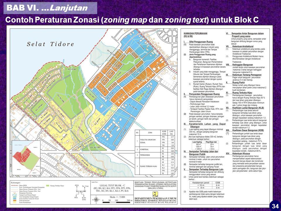 Contoh Peraturan Zonasi (zoning map dan zoning text) untuk Blok C