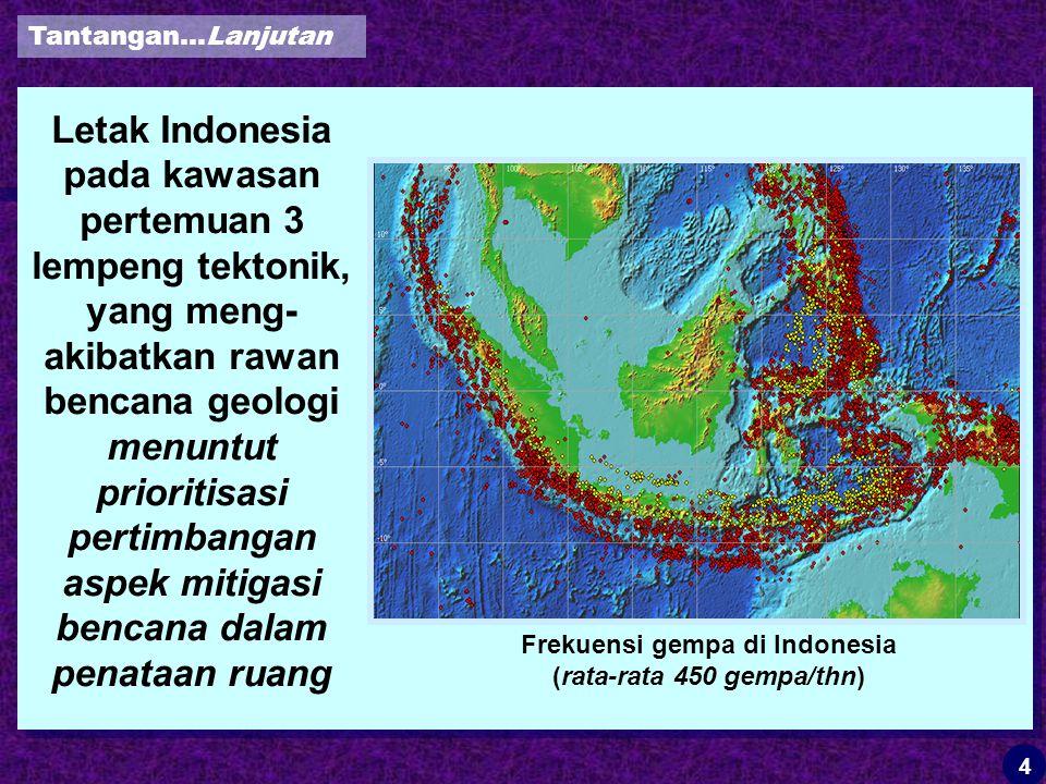 Frekuensi gempa di Indonesia (rata-rata 450 gempa/thn)