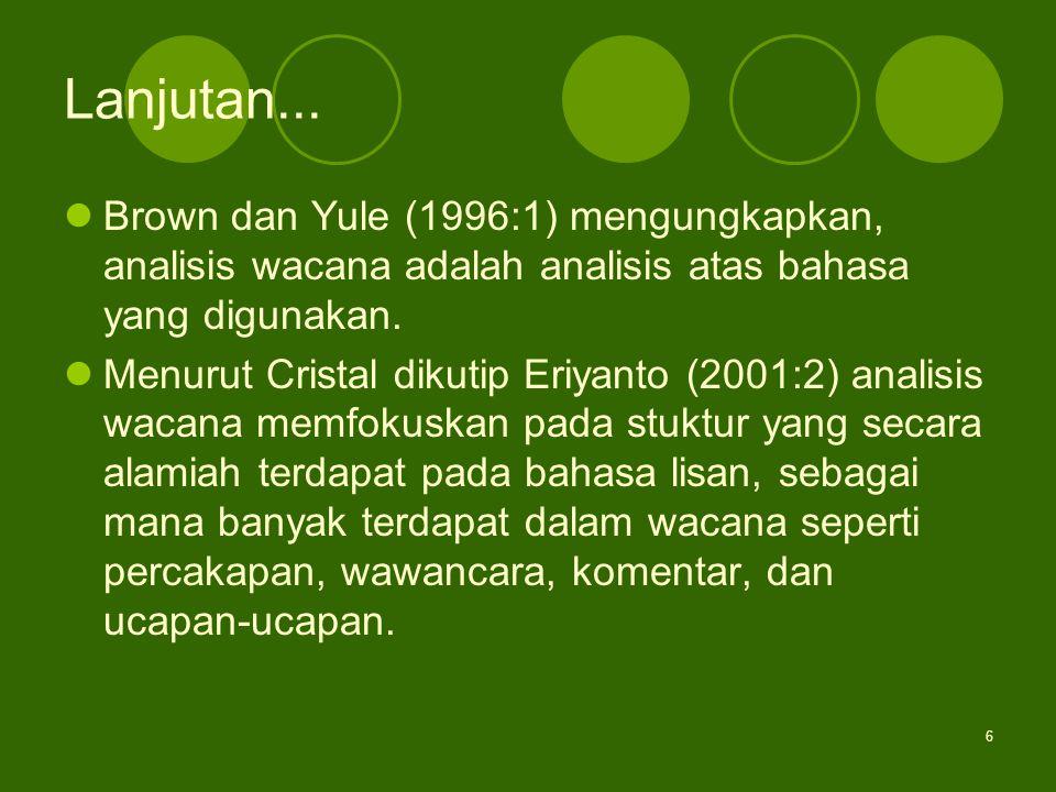 Lanjutan... Brown dan Yule (1996:1) mengungkapkan, analisis wacana adalah analisis atas bahasa yang digunakan.