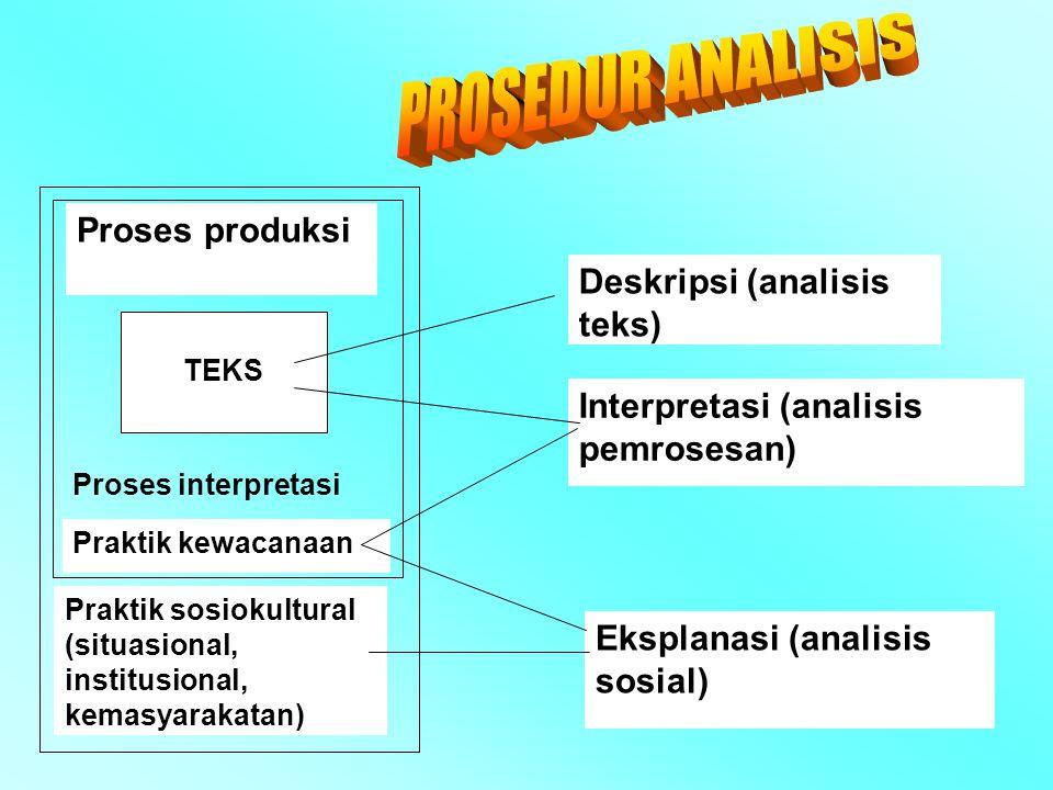 PROSEDUR ANALISIS Proses produksi Deskripsi (analisis teks)