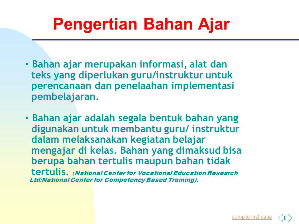 Pengertian Bahan Ajar Bahan ajar merupakan informasi, alat dan