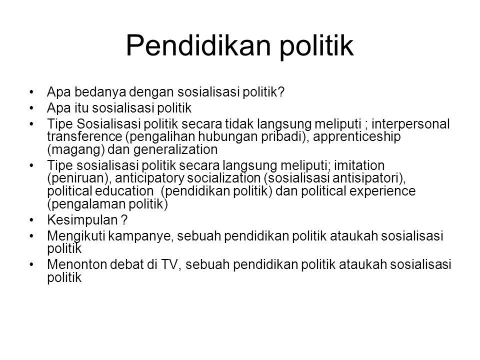 Pendidikan politik Apa bedanya dengan sosialisasi politik