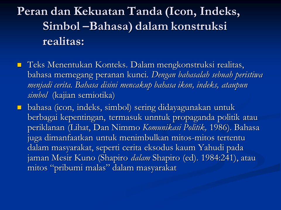 Peran dan Kekuatan Tanda (Icon, Indeks, Simbol –Bahasa) dalam konstruksi realitas: