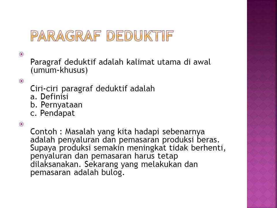 Paragraf Deduktif Paragraf deduktif adalah kalimat utama di awal (umum-khusus)