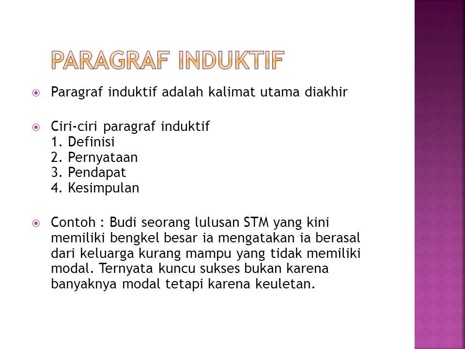 Paragraf Induktif Paragraf induktif adalah kalimat utama diakhir