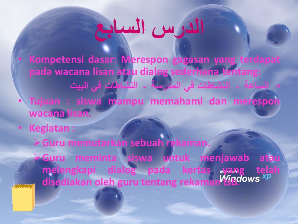 الدرس السابع Kompetensi dasar: Merespon gagasan yang terdapat pada wacana lisan atau dialog sederhana tentang: