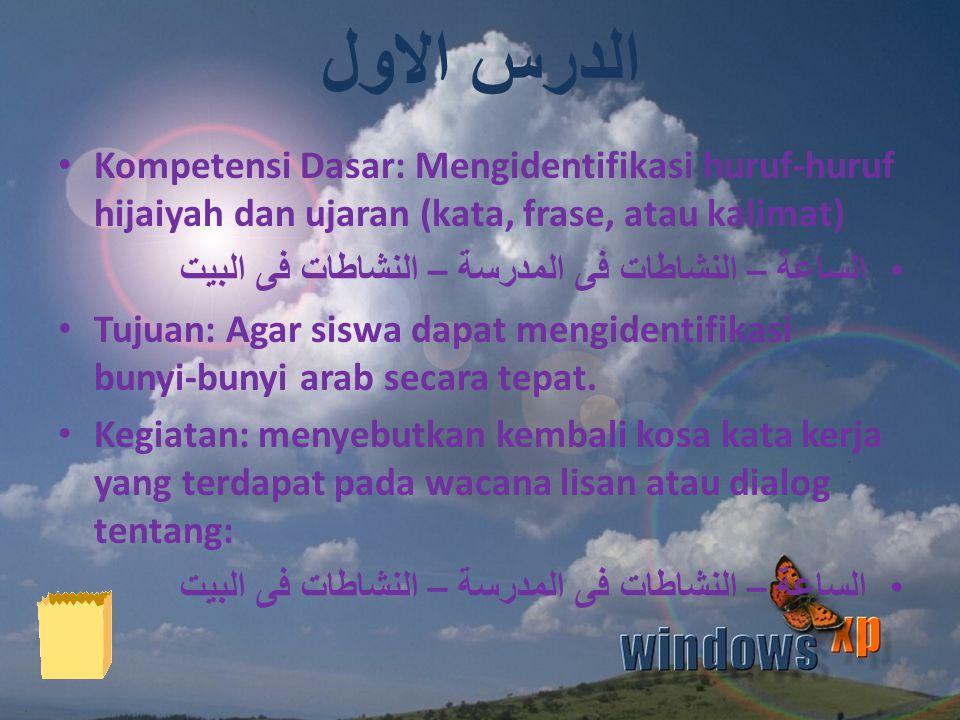 الدرس الاول Kompetensi Dasar: Mengidentifikasi huruf-huruf hijaiyah dan ujaran (kata, frase, atau kalimat)