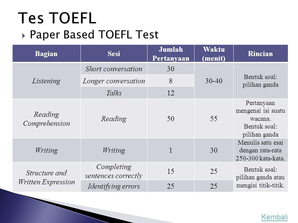 Tes TOEFL Paper Based TOEFL Test Bagian Sesi Jumlah Pertanyaan Waktu