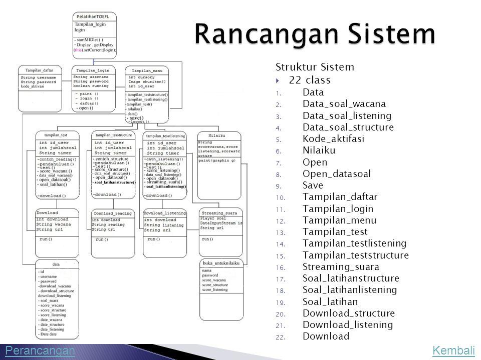 Rancangan Sistem Perancangan Kembali Struktur Sistem 22 class Data