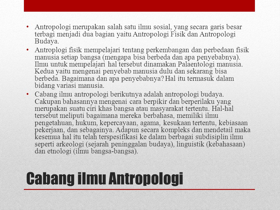 Cabang ilmu Antropologi