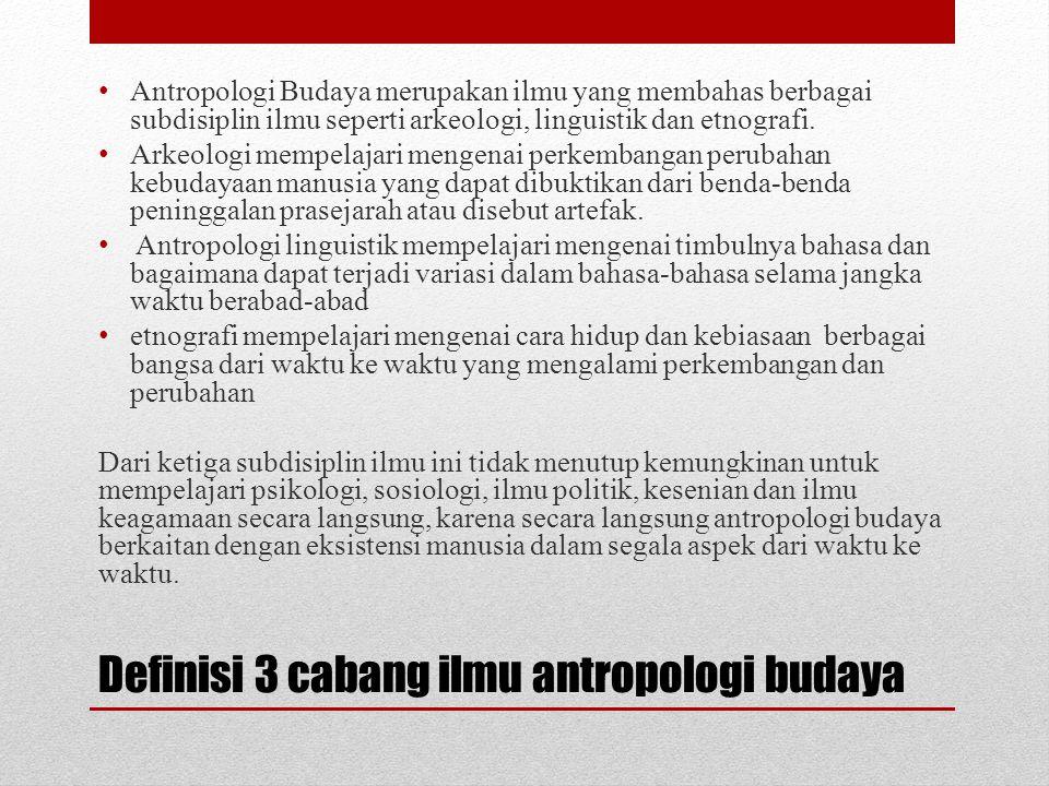 Definisi 3 cabang ilmu antropologi budaya