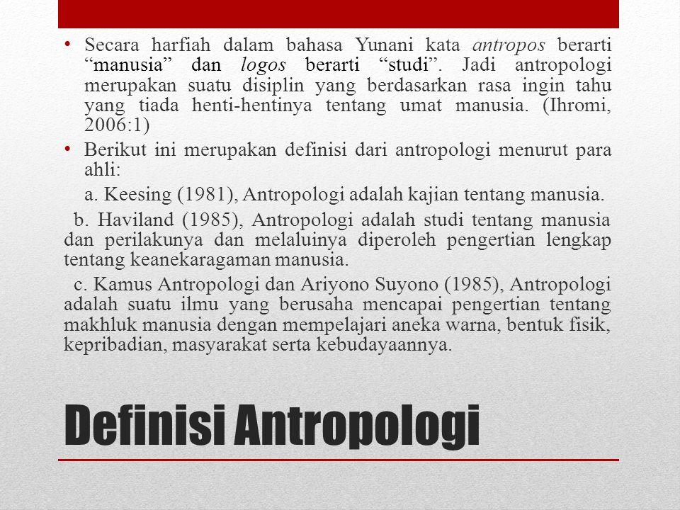 Secara harfiah dalam bahasa Yunani kata antropos berarti manusia dan logos berarti studi . Jadi antropologi merupakan suatu disiplin yang berdasarkan rasa ingin tahu yang tiada henti-hentinya tentang umat manusia. (Ihromi, 2006:1)