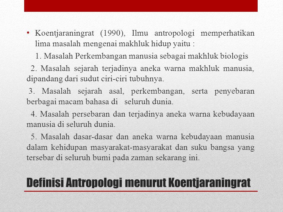 Definisi Antropologi menurut Koentjaraningrat