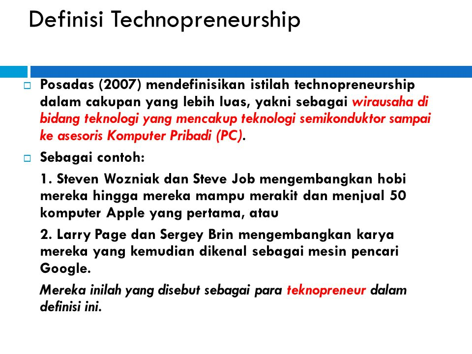 Definisi Technopreneurship