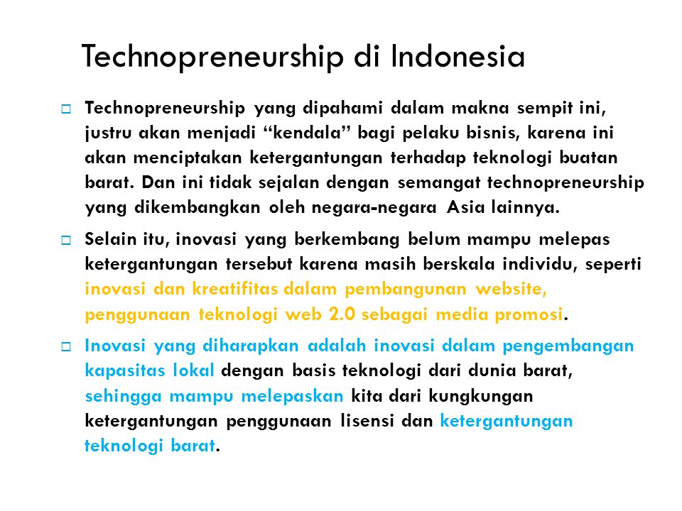 Technopreneurship di Indonesia
